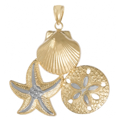 14kt Two-Tone Gold 1 1/2in Scallop, Starfish, Sand Dollar Pendant