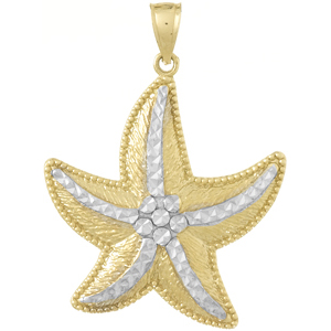 14kt Two-Tone Gold 1 1/4in Large Starfish Pendant