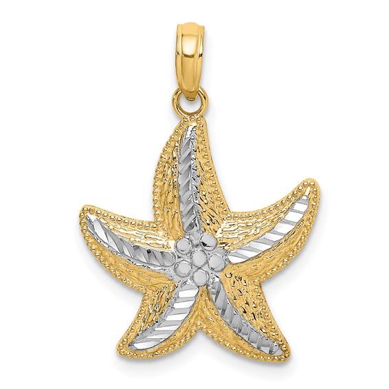 14kt Two-Tone Gold 3/4in Diamond-cut Starfish Pendant