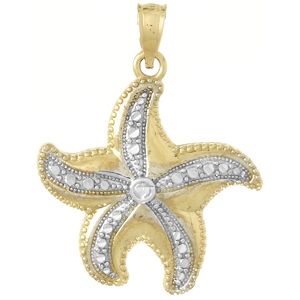 14kt Two-Tone Gold 7/8in Dancing Starfish Pendant