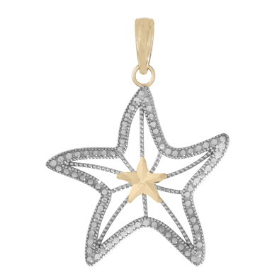 14kt Two-Tone Gold 7/8in Cut-Out Starfish Pendant