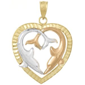 14kt Tri-Tone Gold 3/4in Dolphin Heart Pendant