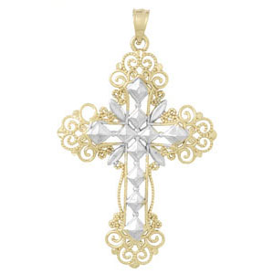 14kt Two-Color Gold 1 1/2in Swirl Cross Pendant