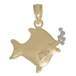 14kt Two-Tone Gold 5/8in 2-D Fish Pendant