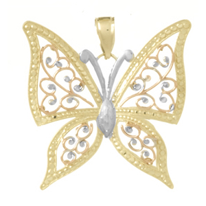 14kt Tri-Color Gold 34mm Butterfly Pendant