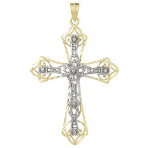 14kt Two-Color Gold Filigree Passion Cross Pendant 1.5in