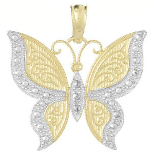 14kt Two-tone Gold 3/4in Butterfly Pendant