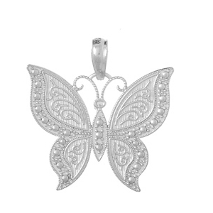 14kt White Gold 3/4in Butterfly Pendant