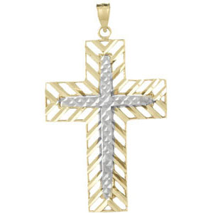 14kt Two-Color Cut-Out Gold Block Cross Pendant