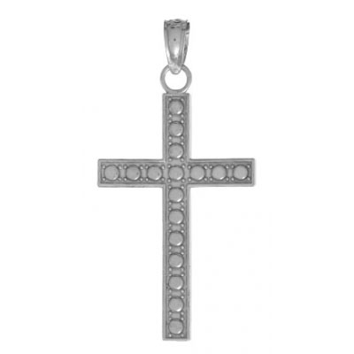 26mm 14kt White Gold Beaded Block Cross Pendant