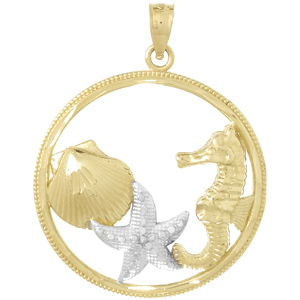 14kt Two-Tone Gold Sea Life Cluster Pendant