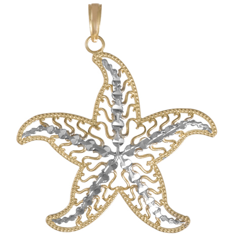 14kt Two-Tone Gold 1 1/8in Filigree Starfish Pendant