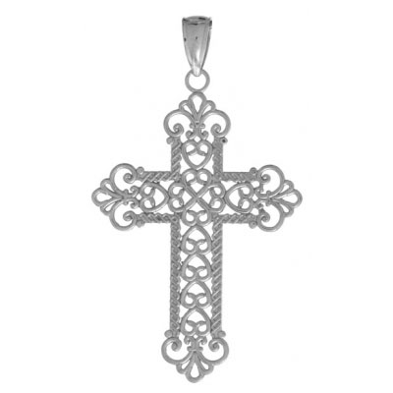 14k White Gold 1 1/8in Filigree Rope Frame Cross Pendant