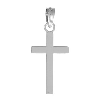 19mm 14kt White Gold 2-D Block Cross Pendant