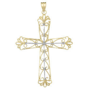 14kt Two-Color Gold Hearts Cross Pendant