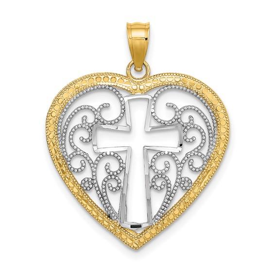 14kt Two-Color Gold Filigree Heart Cross Pendant