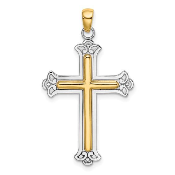 14kt Two-Color Gold 33mm Fleur De Lis Cross Pendant