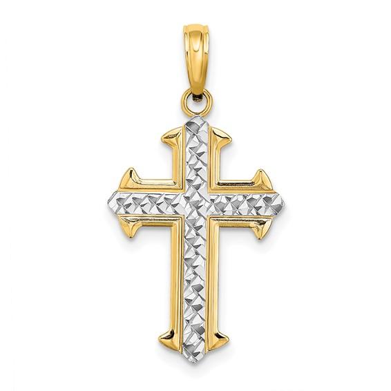 14kt Two-Color Gold Diamond Cut Cross Pendant