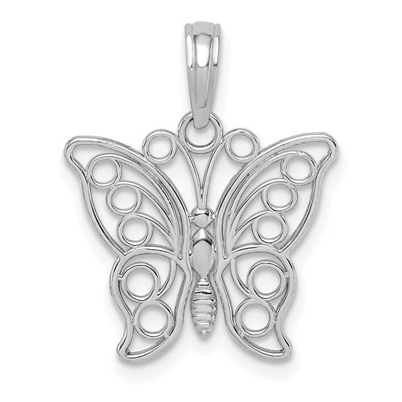 14kt White Gold 19mm Cut-Out Butterfly Pendant