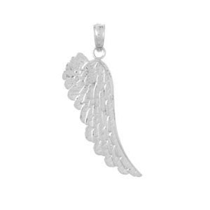 14kt White Gold 1in Angel Wing Pendant