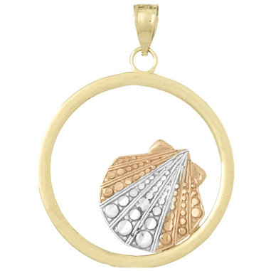 14kt Three-Tone Gold 7/8in Shell in Round Frame Pendant