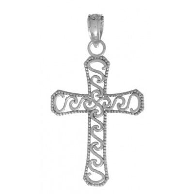 23mm 14kt White Gold Filigree Swirl Cross Pendant