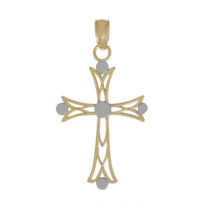22mm 14kt Two-Color Gold Cross Pendant with Round Tips