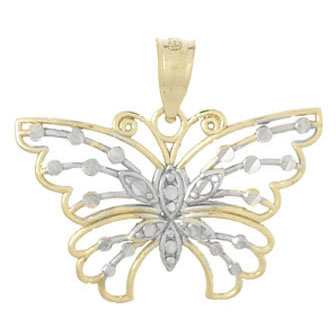14kt Two-Tone Gold 19mm Cut-Out Butterfly Pendant