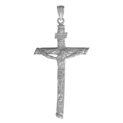 49mm 14kt White Gold 2-D Textured Crucifix Pendant