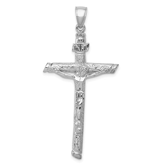 49mm 14kt White Gold 2-D Textured Crucifix Pendant