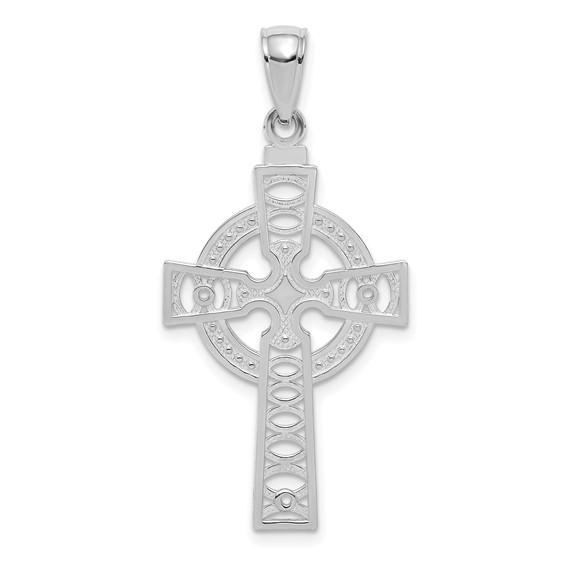 14kt White Gold 7/8in Textured Celtic Cross Pendant