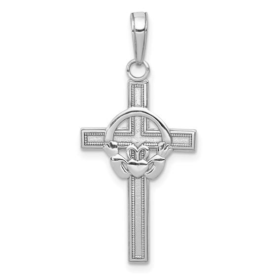 14kt White Gold 3/4in Block Claddagh Cross Pendant