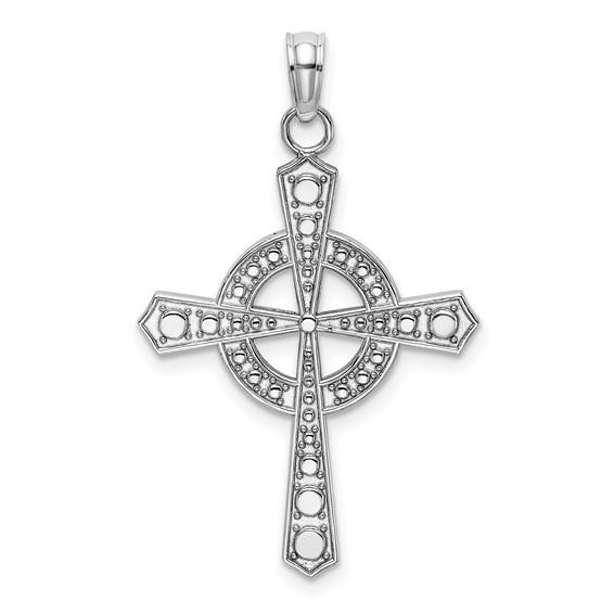 14kt White Gold 1in Beaded Celtic Cross Pendant