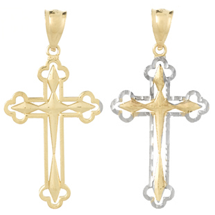 14kt Two-Tone Gold Reversible Scallop Tip Cross Pendant