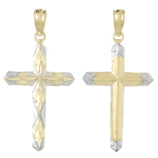 14kt Two-Tone Gold Reversible Passion Cross Pendant