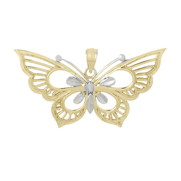 14kt Two-Tone Gold 17mm Butterfly Pendant