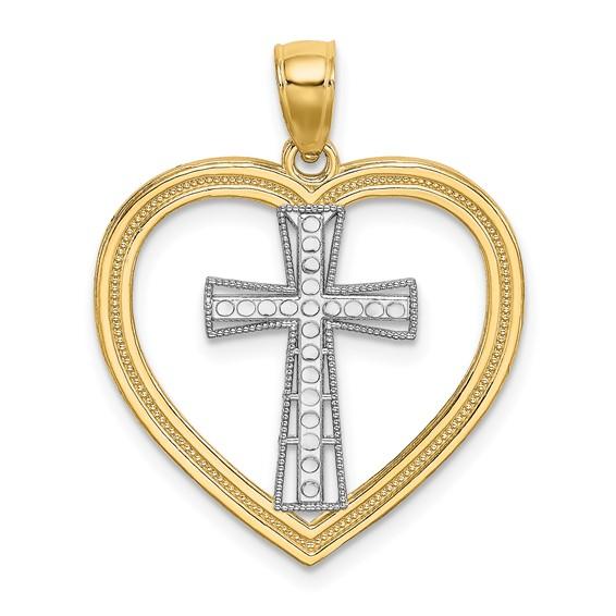 14kt Two-Tone Gold 7/8in Heart Cross Pendant