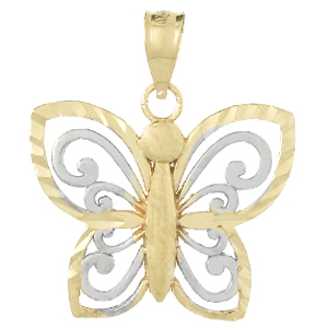 14kt Two-Tone Gold 20mm Butterfly Cut-Out Pendant