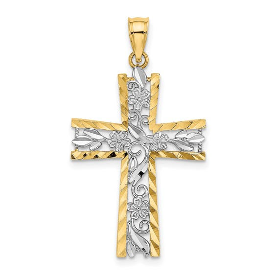 14kt Two-Tone Gold 1in Diamond-cut Flower Cross