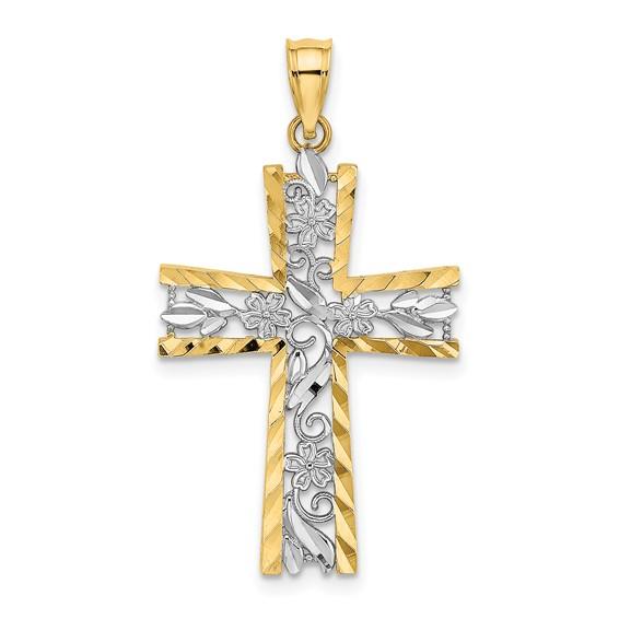 14kt Two-Tone Gold 1in Diamond-cut Flower Cross
