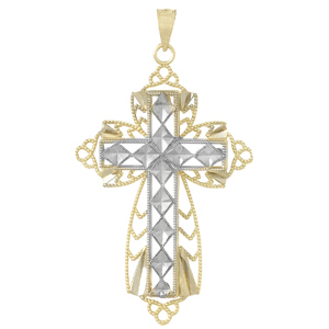 14kt Two-Tone Gold 1 1/2in Beaded and Diamond Cut Cross
