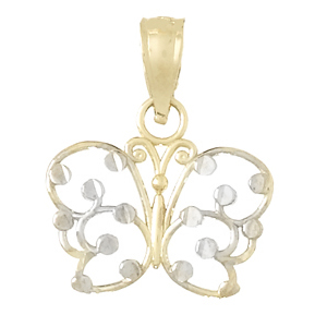 14kt Two-Tone Gold 16mm Butterfly Cut-Out Pendant