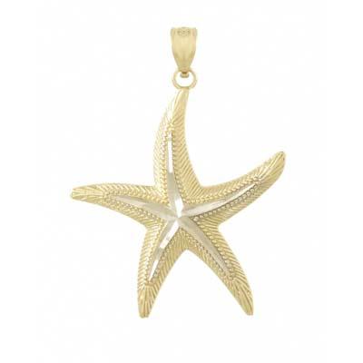 14kt Two-Tone Gold 1in Diamond Cut Starfish Pendant