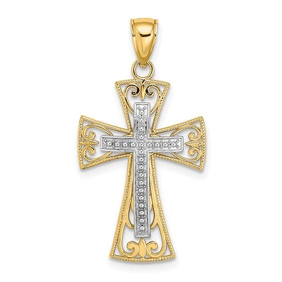 14k Two-Tone Gold Filigree Crusader Cross Pendant 1in