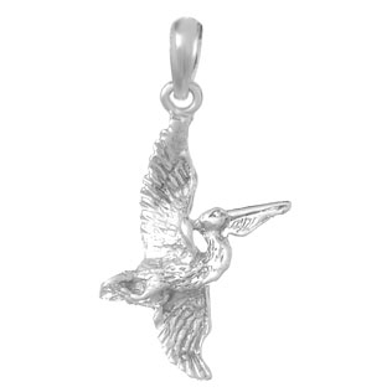 14kt White Gold 7/8in Flying Pelican Pendant