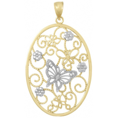 14kt Two-Tone Gold 50mm Butterfly Oval Cluster Pendant