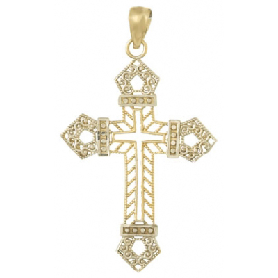 14k Yellow Gold and Rhodium Fancy Filigree Passion Cross Pendant 1in