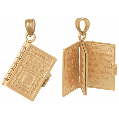 14kt Rose Gold Holy Bible Book Pendant