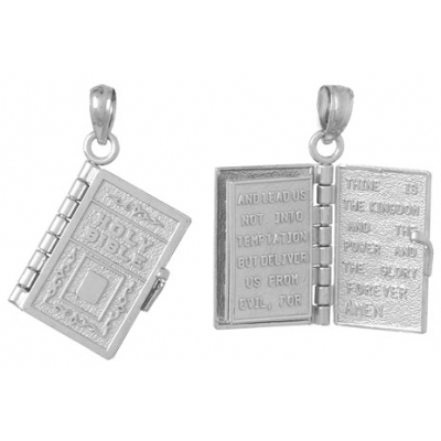 14kt White Gold 3/4in Holy Bible 3-D Moveable Pendant