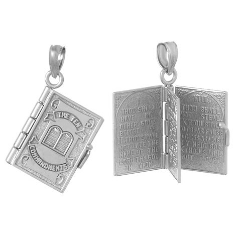 14kt White Gold Ten Commandments Book Pendant